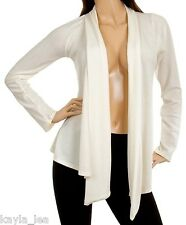Cream/White Long Sleeve Shrug/Cover-Up Drape Scarf Tunic Cardigan #YJ-C