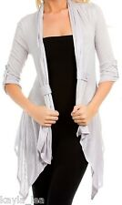 Light Gray 3/4 Sleeve Shrug/Cover-Up Drape Scarf Tunic Cardigan S