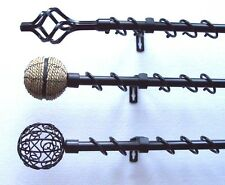 16/19mm Extendable Telescopic Black Curtain Pole 1.2m - 3m Cage Rope Ball Ends
