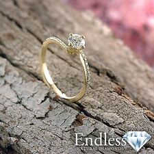 Natural Diamond Engagement Ring 14k Solid Gold 1.33 CT SI/I-J Size 5.5 Enhanced