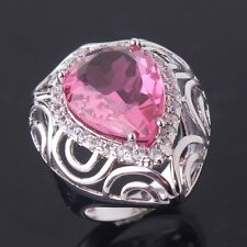 Size M-T Pear Cut Pink Sapphire Party Ring 18K White Gold Filled Jewelry New
