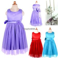 Lovely Baby Kids Toddlers Girl Princess Big Bowknot Pleated Dress Outfit ED