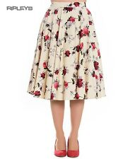 Hell Bunny Floral Vintage Pin Up Rockabilly 50s Skirt CECILY Cream Roses All Siz