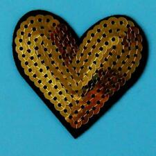 Gold Sequin Heart Love Shine Iron on Sew Patch Applique Badge Embroidered Biker