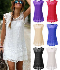 Sexy Women Summer Sleeveless Lace Casual Short Mini Dress Evening Party Cocktail