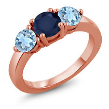 2.00 Ct Round Blue Sapphire Sky Blue Topaz 18K Rose Gold Plated Silver Ring