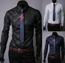 Luxury Mens Stylish Slim Fit T-shirts Long Sleeve Formal Dress Shirt Casual Tops