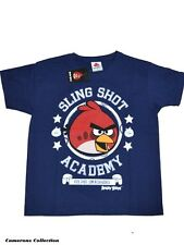 Boys 'ANGRY BIRDS SLING SHOT ACADEMY' Navy Soft Touch T Shirt Top   Age 5/6 yrs