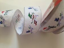 Flock Velvet Snowman Snowmen Christmas -  Luxury Wire Edged Ribbon - Ltd Stock!
