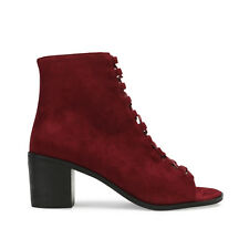 New Womens Zip Lace Up Summer Peep Open Toe Ankle Boots in Red Bordeaux UK 3-8