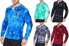 Men's Washed Pullover Polo Sweatshirt Shirt Clubwear T-Shirt V-Neck long sleeve