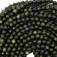 """Faceted Black Gold Obsidian Round Beads Gemstone 14.5"""" Strand 6mm 8mm 10mm 12mm"""