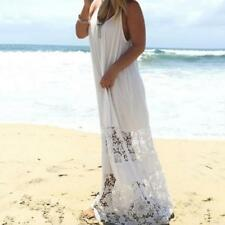 Beach Dresses Womens Lace Splice Backless Strappy Party Evening Long Maxi Dress