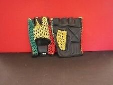 LEATHER & MESH FINGERLESS GLOVES - RED - WHITE - BLACK - RASTA - DANCE - SPORTS
