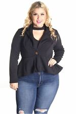 DEALZONE Solid Front Button Top Jacket 1X 2X 3X Women Plus Size Black