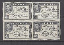 FIJI, 1940 KGVI 6d. Map, Die II, perf. 13 1/2, block of 4, mnh./lhm.