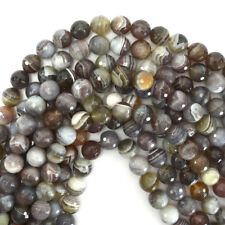 """Natural Faceted Botswana Agate Round Gemstone 16"""" Strand 6mm 8mm 10mm 12mm"""