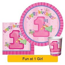 FUN AT ONE 1st Birthday Pink GIRL Party Range - Tableware Balloons & Decorations