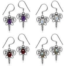 925 Sterling Silver Genuine Cabochon Dragonfly Dangle Hook Earrings