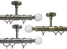 28mm Extendable Ceiling Fit Curtain Pole With Brackets Crystal Ball Finials