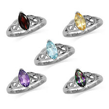 Marquise 10*5MM Gemstone 925 Sterling Silver Triquetra Celtic Knot Ring
