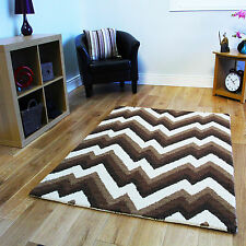 New Small Large Thick Modern Wool Rugs Soft Non Shed Quality Chevron Lounge Rug