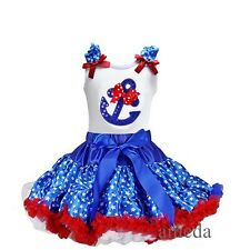 Blue Star Pettiskirt Red Polka Dots Bling Anchor Tank Top 4th July Party Dress