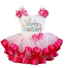 Light Hot Pink Polka Dots Tutu Rhinestone Happy Easter Tee Outfit Party Dress