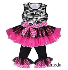 Zebra Hot Pink Polka Dots Ruffled Top and Pants Set Girls Outfit