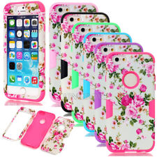 Deluxe Peony Flower Hybrid Heavy Duty Shockproof Case Cover For iPhone 6 6S Plus