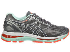 NEW WOMENS ASICS GEL-NIMBUS 19 RUNNING SHOES TRAINERS CARBON / WHITE / FL D-WIDE