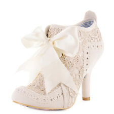Ladies Irregular Choice Abigails Party Lace Cream Ankle Boots Shoes Heels Size