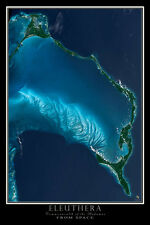 Eleuthera Bahamas From Space Satellite Poster Map
