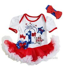 Baby 1st 4th of July Fireworks White Red Bodysuit Tutu and Headband