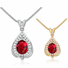 """MODOU Oval Red Garnet White Lab Diamond Pendant Necklace Chain Gold Filled 18"""""""