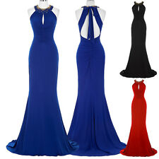 Halter Long Homecoming Party Bridesmaid Prom Evening Dress Size 4 6 8 10 12 14 +