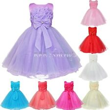 Formal Flower Girls Kid Dress Formal Wedding Party Pageant Lotus Princess Dress