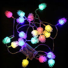 """20-LED Battery Operated Pine Cone String Fairy Lights Xmas Wedding Decor 86"""" SK"""