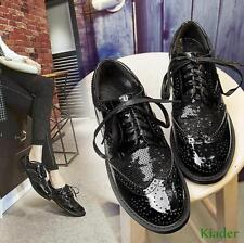 New Carved Wing Tip Flats Womens Lace Up Patent Leather Brogues Oxfords Shoes sz