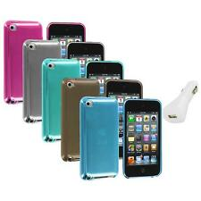 TPU Plain Rubber Jelly Skin Case Cover+White Charger for iPod Touch 4th Gen 4G 4