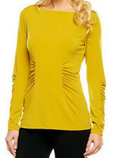 NEW GEORGE SIMONTON Milky Knit Top with Ruching Detail 238560