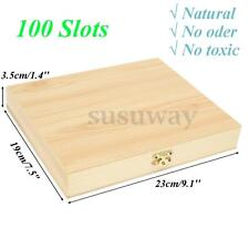 100 Slots Wooden Slides Storage Microscope Glass Case Box Holder Specimen Wood