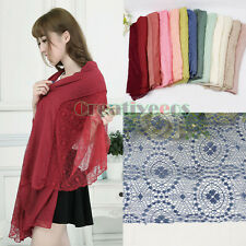 Spring Delicate Lace Soft Cotton Gauze Sheer Larger Scarf Shawl Wrap Soild Color