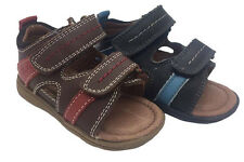 Boys Shoes Clarks Scrubby Choc or Navy Leather Hook & Loop Sandals Sz E 4.5-7.5