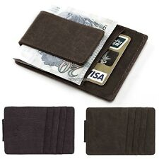 New Mens PU Leather Money Clip Slim Wallets ID Credit Card Holder Bifold ED