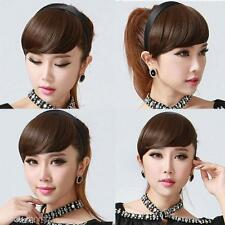Women's Short Straight Neat Bang Fringe Hair Extension Hair Piece Brown Black