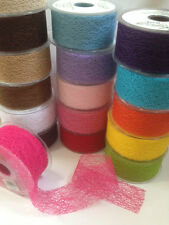 ELEGANZA Jute Mesh Net Webbing Ribbon - 18 shades & 4 lengths - 38 & 50mm width