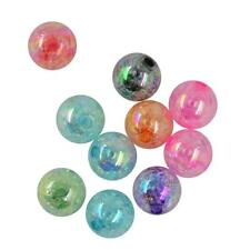 50/10pcs Mixed Round Ball Crackle Acrylic Beads Jewelry Making DIY 12/18/22mm