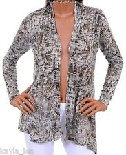Brown/Gray/Taupe Shrug/Cover-Up Drape Scarf Tunic Cardigan S