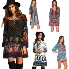 Women Print Ethnic Style Vintage Dress Party Beach Loose Summer Casual Dress